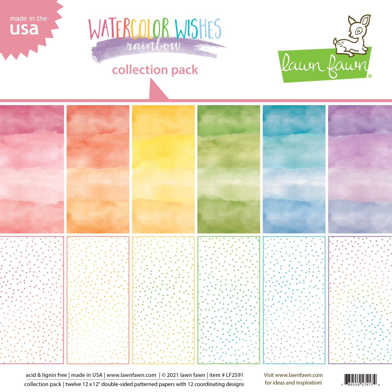 Watercolor Wishes Rainbow, Lawn Fawn Collection Pack -