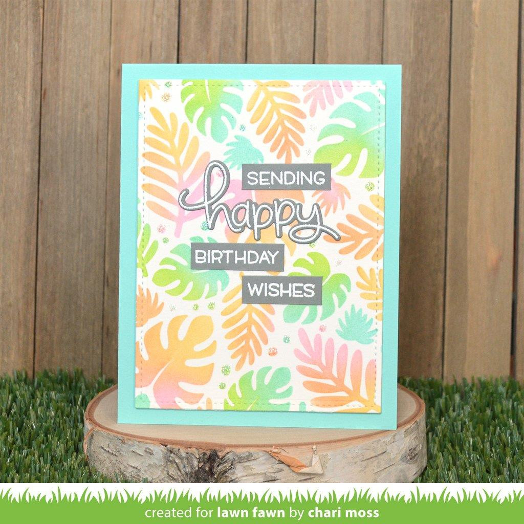 Tropical Leaves Background, Lawn Fawn Stencils -