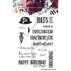 Old Chap Birthday, Colorado Craft Company Clear Stamps -