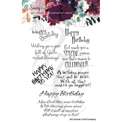 Birthday Blessings, Colorado Craft Company Clear Stamps -