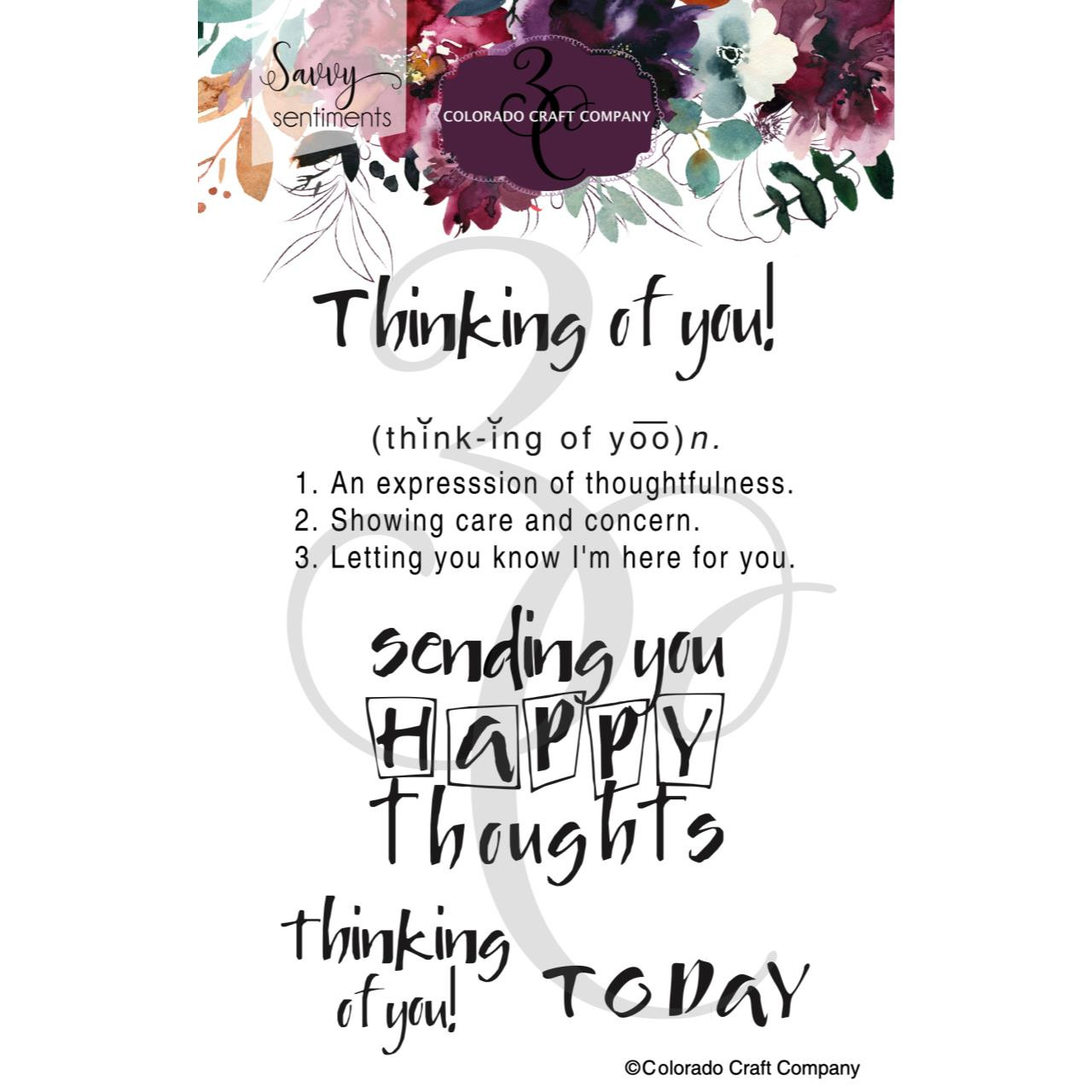 Thinking of You, Colorado Craft Company Clear Stamps -