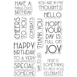 Art Deco Birthday Greetings, Poppystamps Clear Stamps -