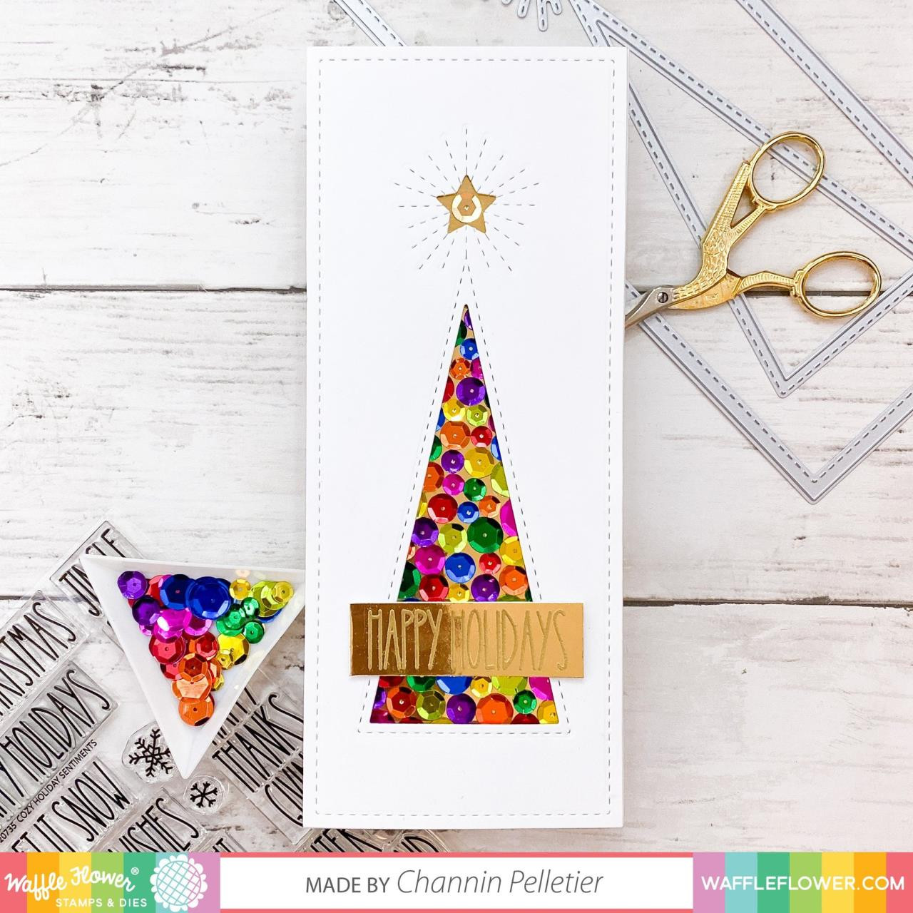 Cozy Holiday Sentiments, Waffle Flower Clear Stamps -