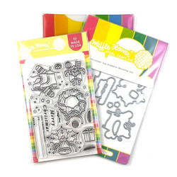 Christmas Tag Elements, Waffle Flower Stamp & Die Combo -