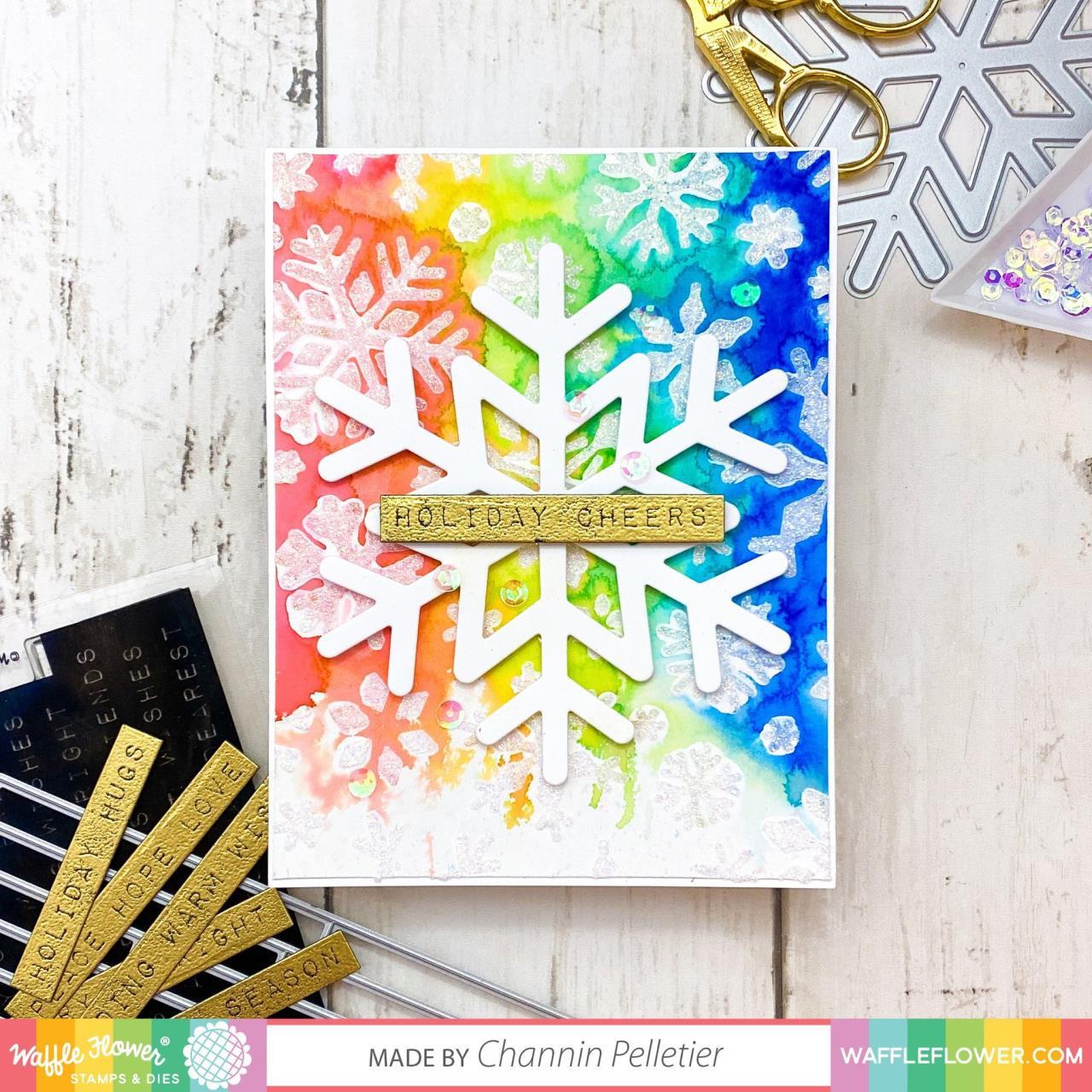 Snowflake Background, Waffle Flower Stencils -
