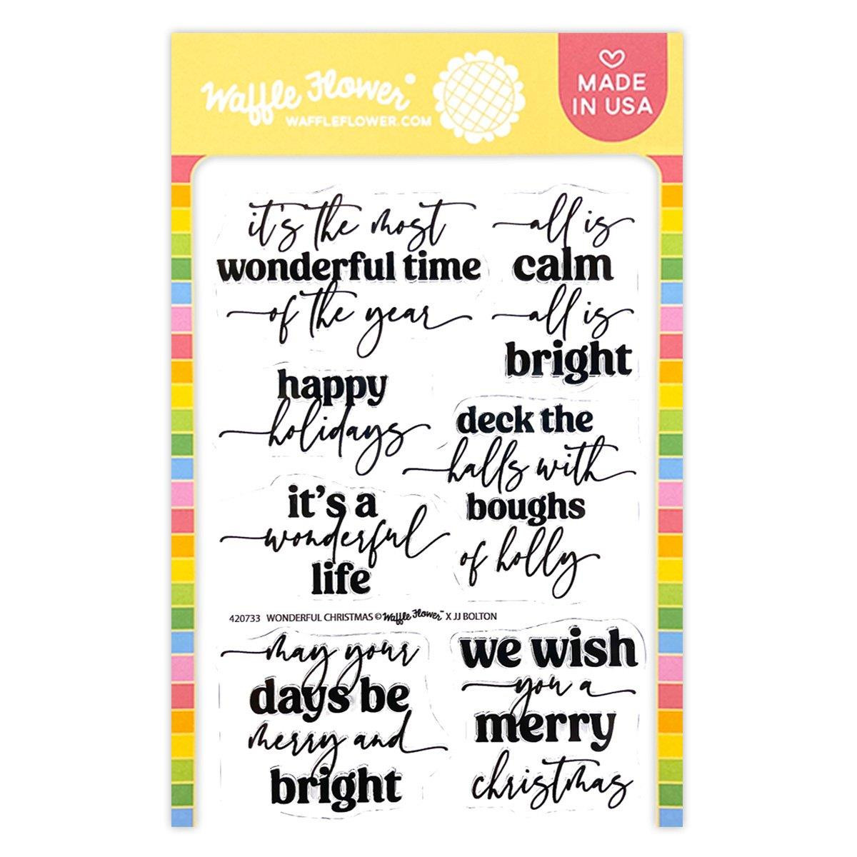Wonderful Christmas, Waffle Flower Clear Stamps -