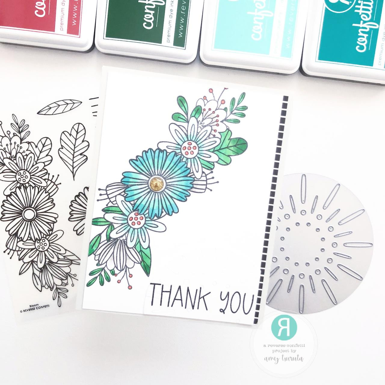 Bloom, Reverse Confetti Clear Stamps -
