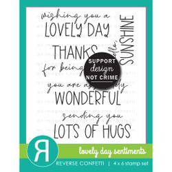 Lovely Day Sentiments, Reverse Confetti Clear Stamps -