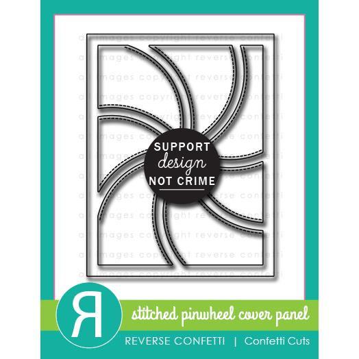 Stitched Pinwheel Cover Panel, Reverse Confetti Cuts -