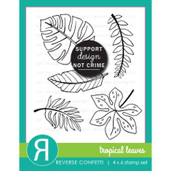 Tropical Leaves, Reverse Confetti Clear Stamps -