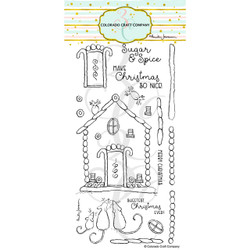 Gingerbread House by Anita Jeram, Colorado Craft Company Clear Stamps -