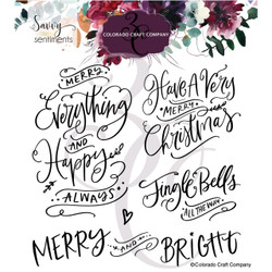 Merry Everything Sentiments, Colorado Craft Company Clear Stamps -