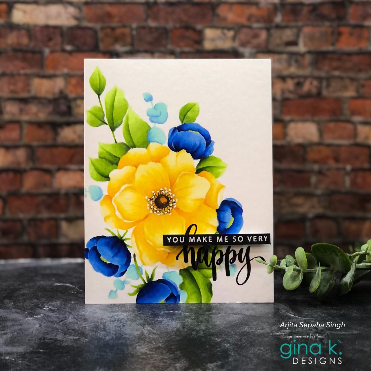 Happy Flowers, Gina K Designs Clear Stamps -
