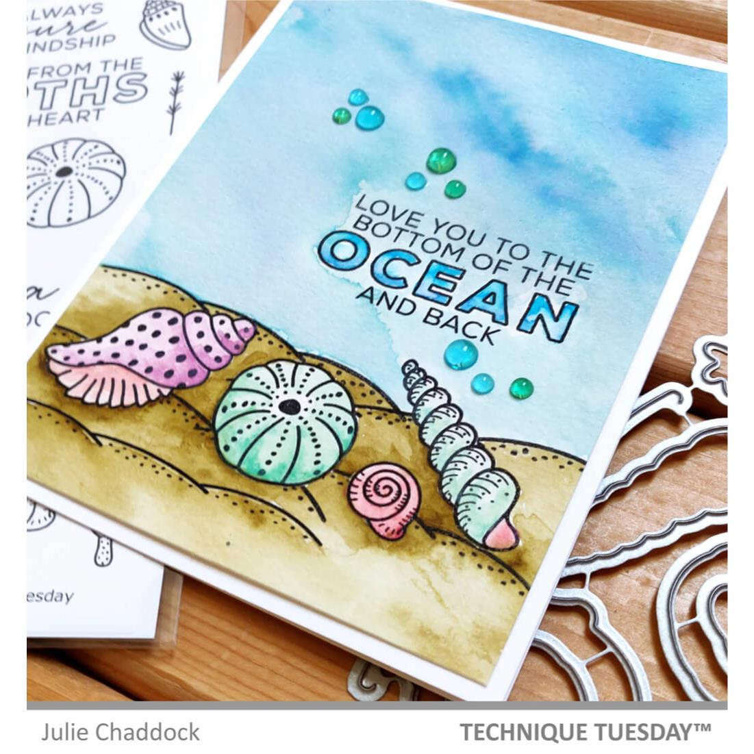 Sea Shells, Technique Tuesday Clear Stamps -