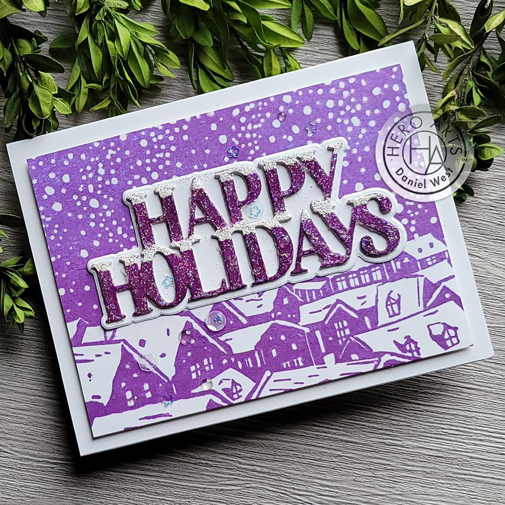 Snowy Rooftops Bold Prints, Hero Arts Cling Stamps -