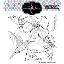 Hibiscus Hummingbird, Colorado Craft Company Clear Stamps -