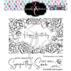 Peonies Frame, Colorado Craft Company Clear Stamps -