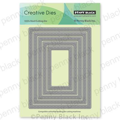 Stitched Frames, Penny Black Dies -