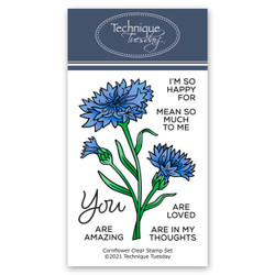 Cornflowers, Technique Tuesday Clear Stamps -