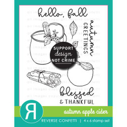 Autumn Apple Cider, Reverse Confetti Clear Stamps -