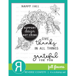 Fall Flowers, Reverse Confetti Clear Stamps -