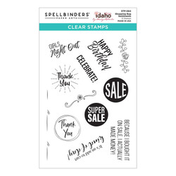 Shopping Bag Sentiments by Becky Roberts, Spellbinders Clear Stamps -
