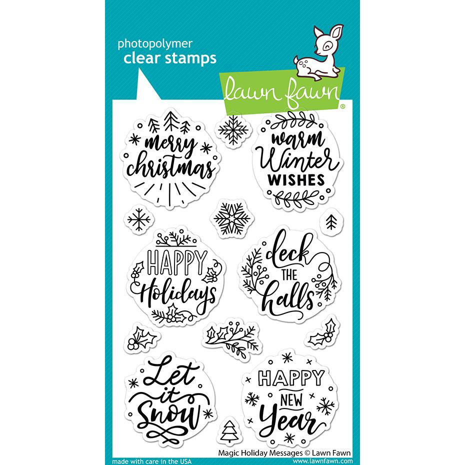 Magic Holiday Messages, Lawn Fawn Clear Stamps -