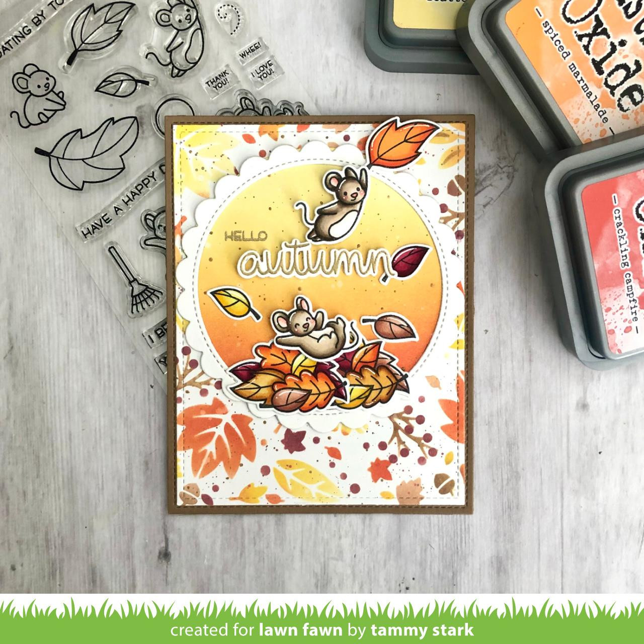 Fall Leaves Background, Lawn Fawn Stencils -