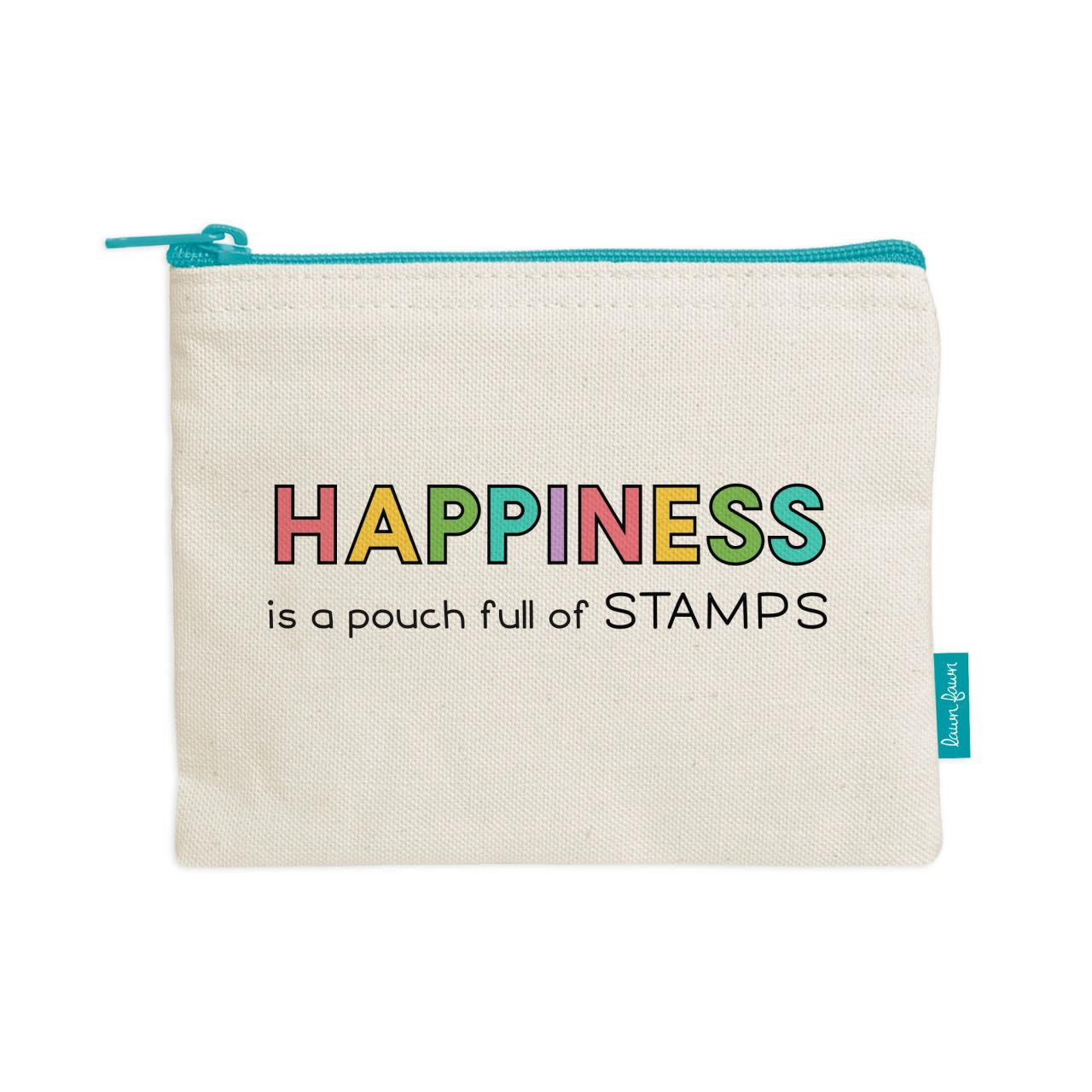 Happiness is a Pouch Full of Stamps, Lawn Fawn Zipper Pouch -