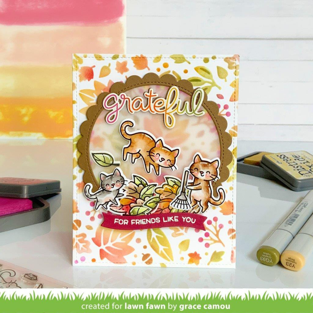 Scripty Autumn Sentiments, Lawn Fawn Clear Stamps -