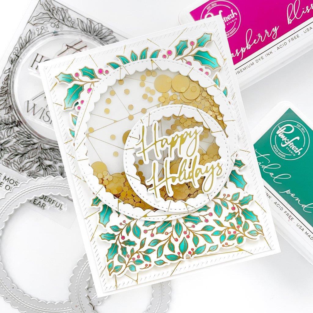 Happy Holidays Circle Frame, Pinkfresh Studio Stencils -