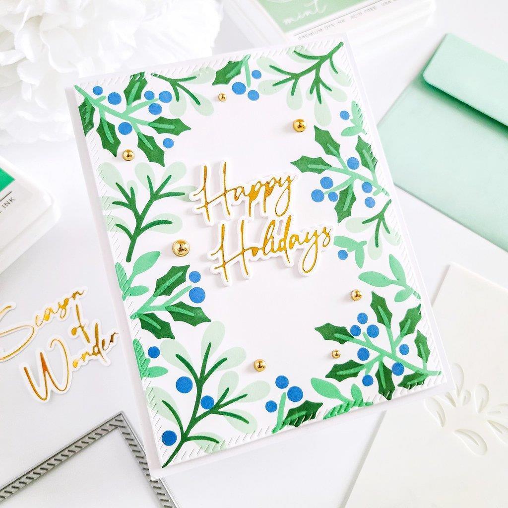 Holiday Botanical Background, Pinkfresh Studio Stencils -