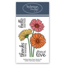 Gerbera Daisy, Technique Tuesday Clear Stamps -