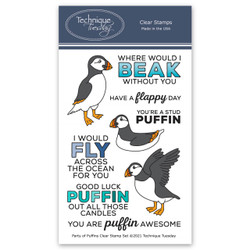 Party of Puffins, Technique Tuesday Clear Stamps -