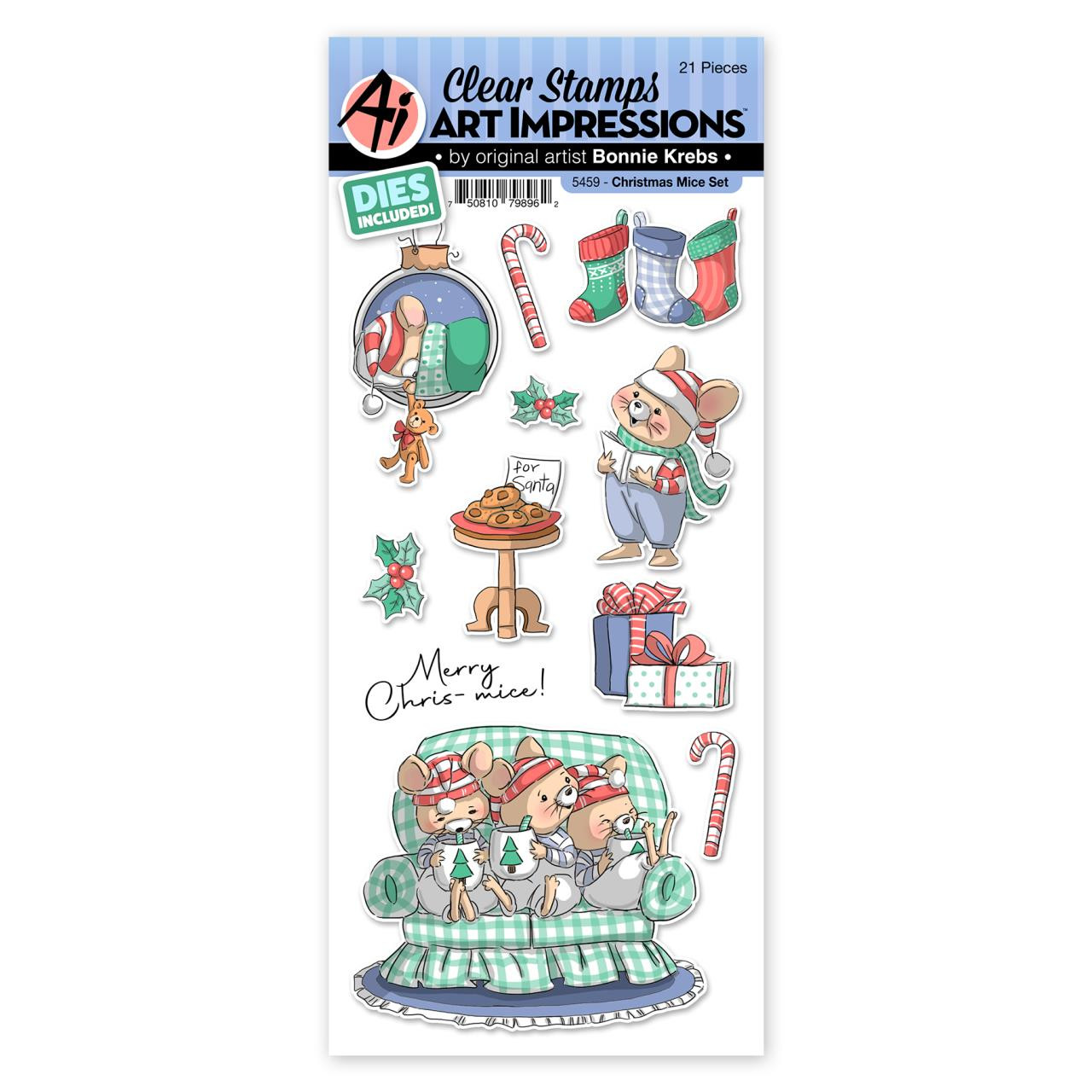 Christmas Mice, Art Impressions Clear Stamps -