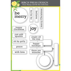 Contempo Christmas Greetings, Birch Press Design Stamp & Die Set -