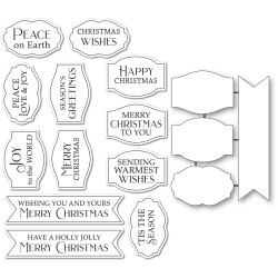 Gilded Christmas Wishes, Poppystamps Stamp & Die Set -