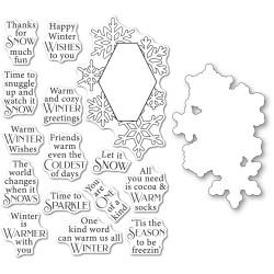 Wintertime Sentiments, Poppystamps Stamp & Die Set -