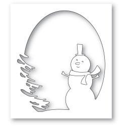 Oval Snowman Collage, Memory Box Dies -