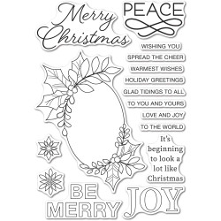 Festive Christmas Greetings, Memory Box Clear Stamps -