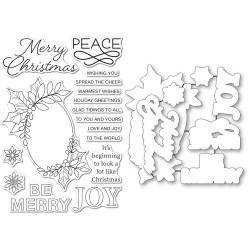 Festive Christmas Greetings, Memory Box Stamp & Die Set -