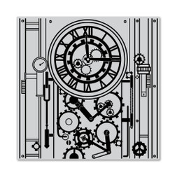 Gear Clock Bold Prints, Hero Arts Cling Stamps -