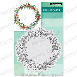 Christmas Circlet, Penny Black Cling Stamps -