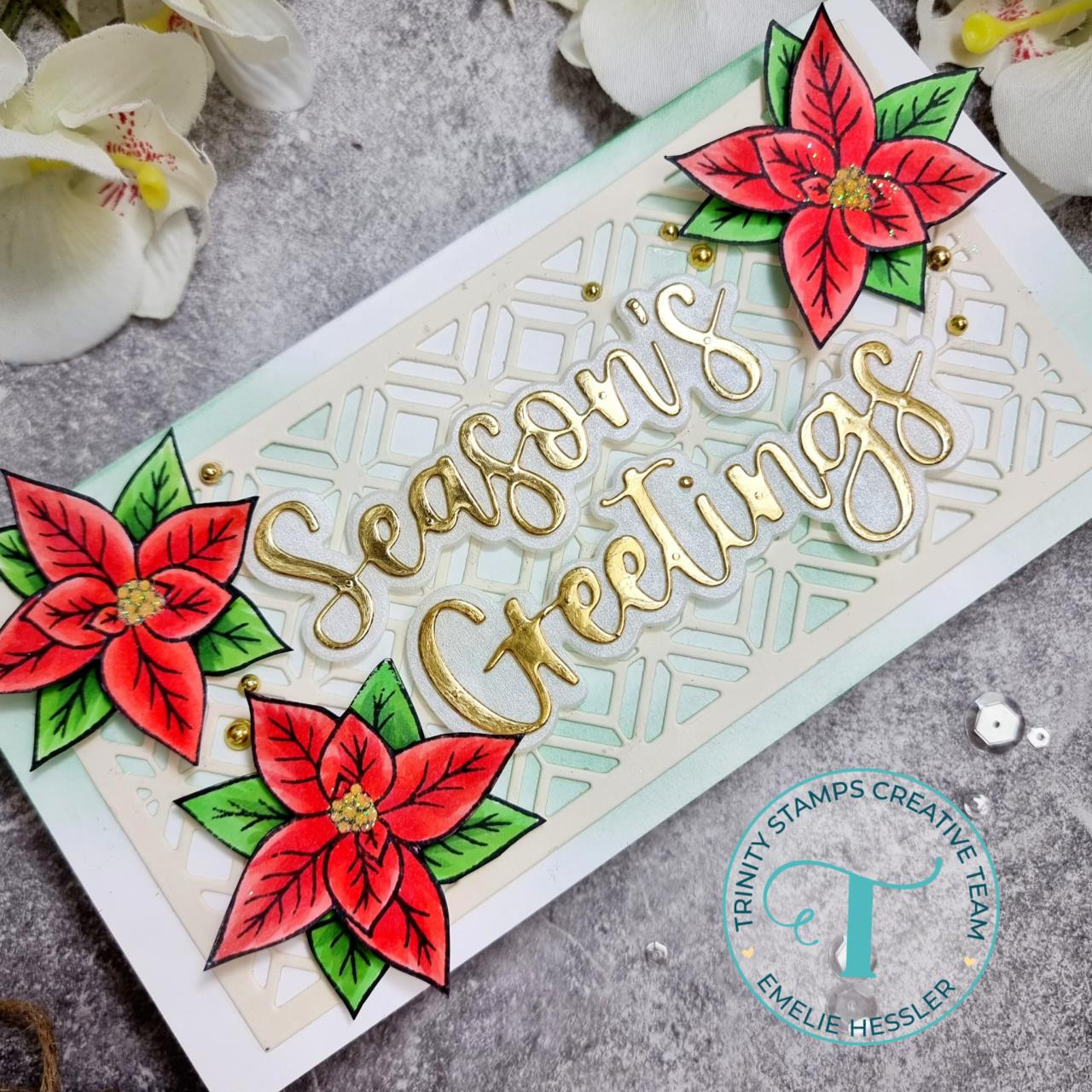 Poinsettia, Trinity Stamps Clear Stamps -