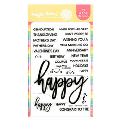 Oversized Happy, Waffle Flower Clear Stamps -