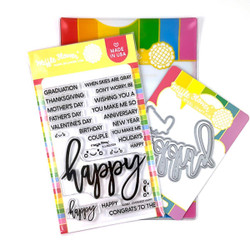 Oversized Happy, Waffle Flower Stamp & Die Combo -
