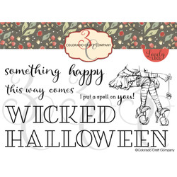 Sitting Witch Slimline, Colorado Craft Company Clear Stamps -