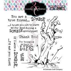 Zombie Friends, Colorado Craft Company Clear Stamps -