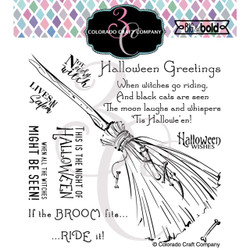 Witch's Broom, Colorado Craft Company Clear Stamps -