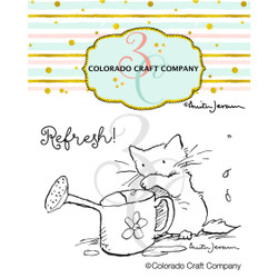 Watering Can Mini by Anita Jeram, Colorado Craft Company Clear Stamps -